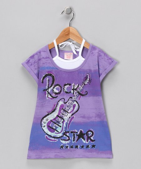 Lavender 'Rock Star' Layered Tee - Girls