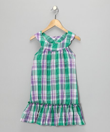 Green Plaid Yoke Dress - Girls