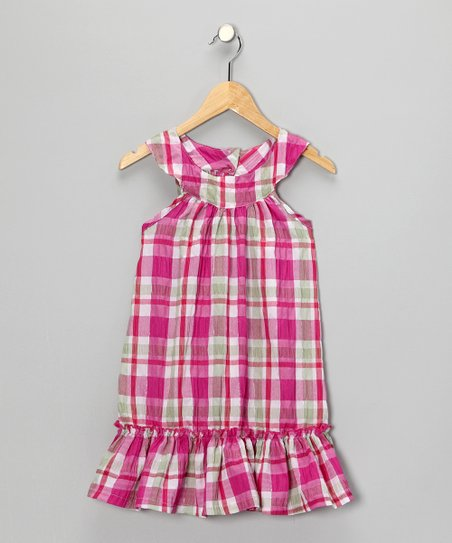 Pink Plaid Yoke Dress - Girls