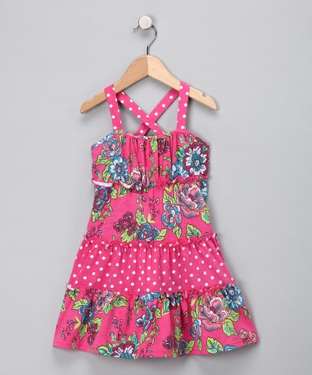 Pink Polka Dot & Floral Dress - Girls