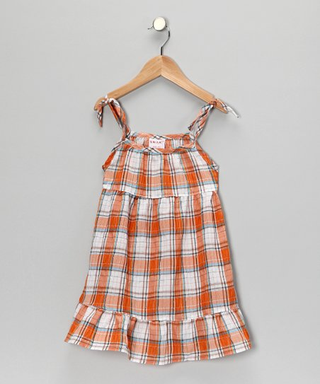 Orange Plaid Dress - Girls