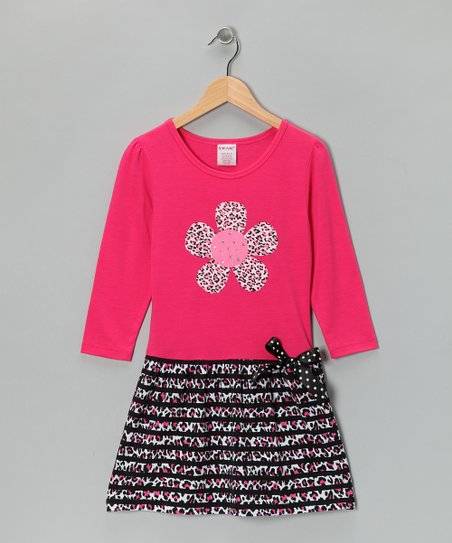 Pink Leopard Flower Dress - Girls