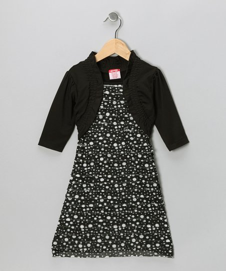Black Polka Dot Layered Dress - Girls