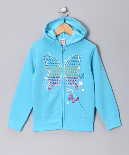 Turquoise Butterfly Zip-Up Hoodie - Girls