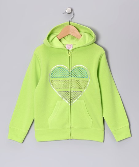 Lime Heart Zip-Up Hoodie - Girls
