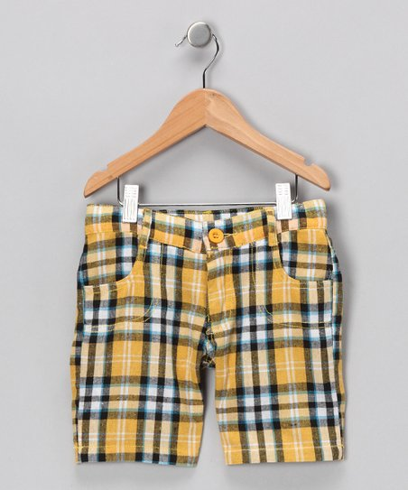 Yellow Plaid Shorts - Girls
