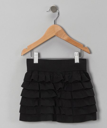 Black Ruffle Tiered Skirt - Toddler