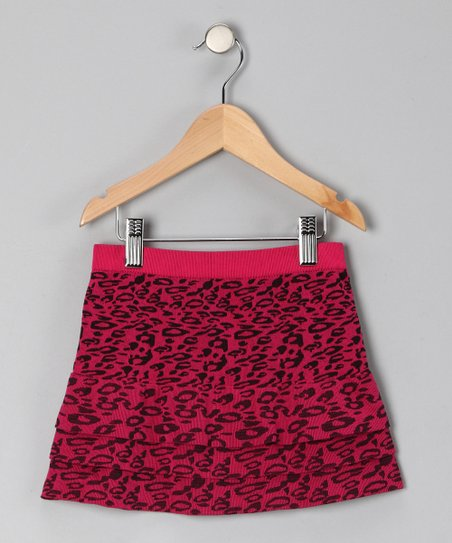 Fuchsia Cheetah Tiered Skirt - Girls