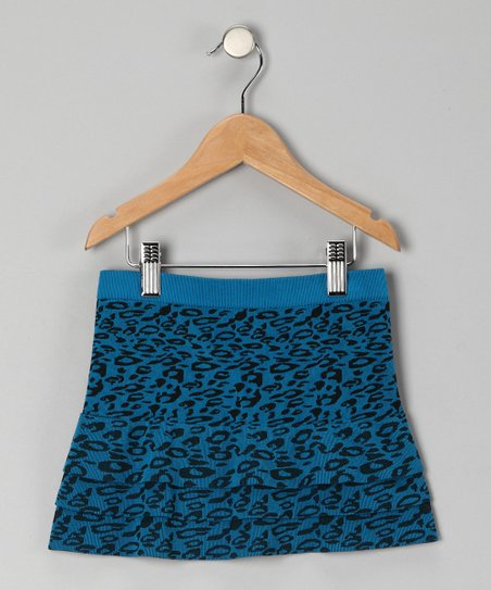 Turquoise Cheetah Tiered Skirt - Girls