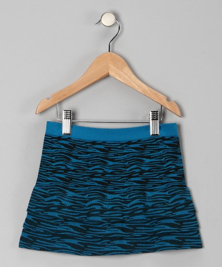 Turquoise Zebra Tiered Skirt - Girls