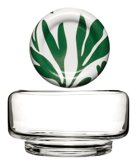 Green & White Small Lidded Salad Bowl