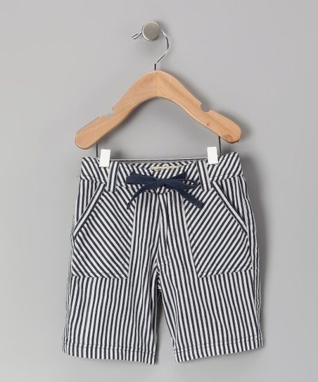 Navy Stripe Organic Shorts - Infant, Toddler & Kids