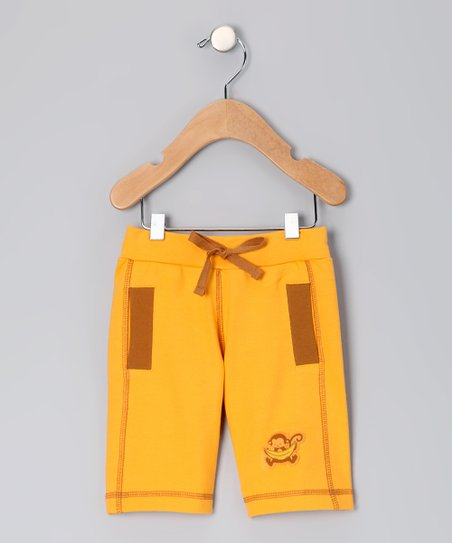 Natural & Orange Organic Shorts - Infant