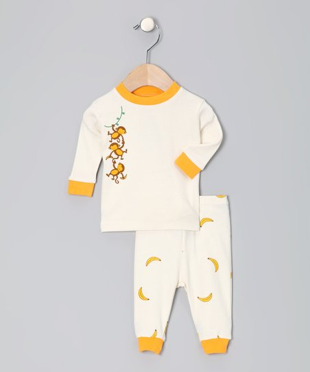Natural & Orange Monkey Organic Pajama Set - Infant