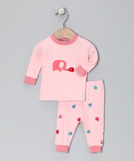 Pink Elephant Organic Pajama Set - Infant