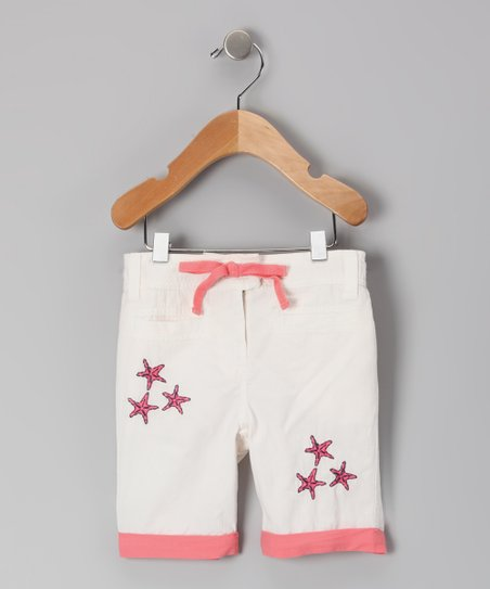 White & Coral Star Organic Shorts - Infant, Toddler & Girls