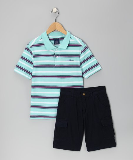 Mint Stripe Polo &amp; Navy Cargo Shorts - Boys