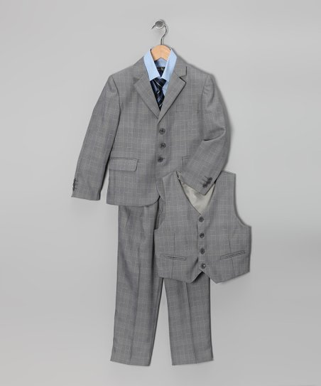 Gray & Light Blue Five-Piece Suit Set - Toddler & Boys