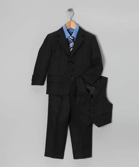 Black & Blue Five-Piece Suit Set - Toddler & Boys