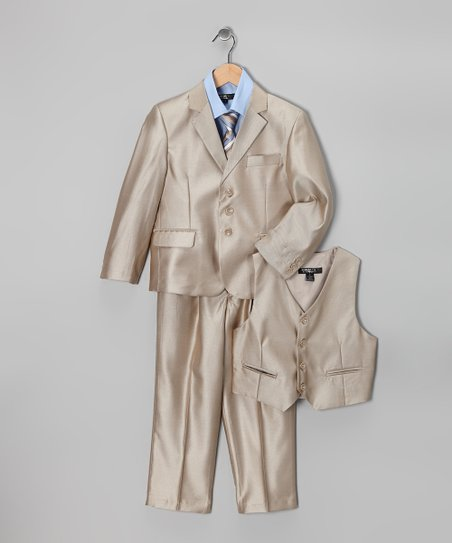 Gold &amp; Blue Five-Piece Suit Set - Toddler &amp; Boys