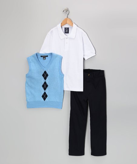 Light Blue Argyle Polo Set - Toddler & Boys
