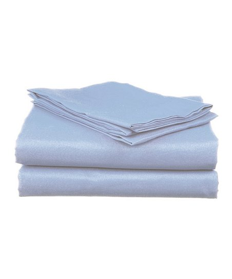 Blue Sateen Cotton Sheet Set