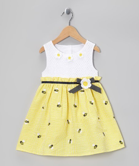Yellow Bee Eyelet Dress - Girls