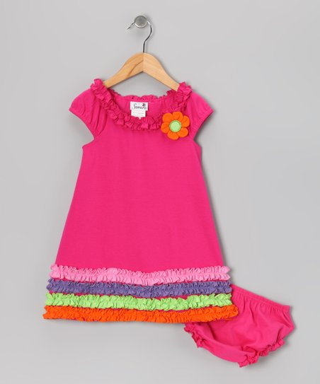 Pink Ruffle Hem Dress & Diaper Cover - Infant