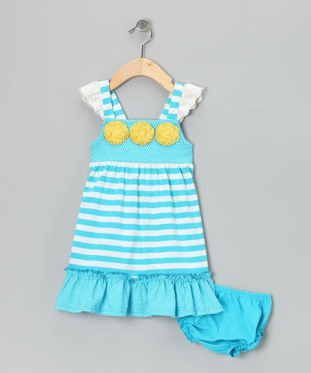 Aqua Stripe Ruffle Dress - Infant, Toddler & Girls