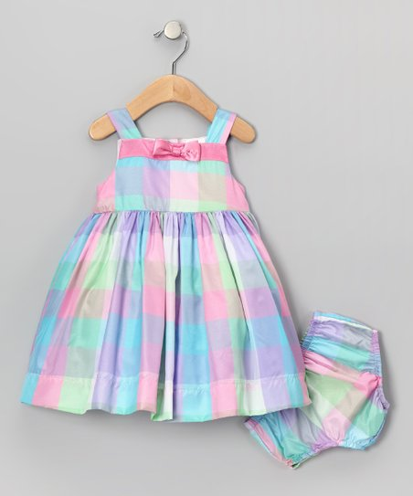 Pastel Plaid Bow Dress - Infant, Toddler & Girls