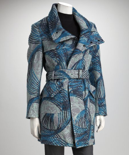 Blue & Gray Swirl Funnel Collar Coat