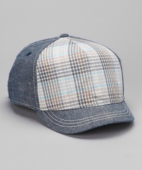 Blue Distressed Plaid Baseball Hat