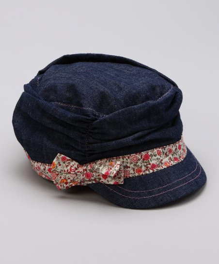 Denim Floral Jockey Cap