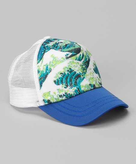 Blue & White Ocean Wave Trucker Hat
