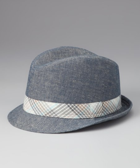 Blue Gingham Trim Fedora