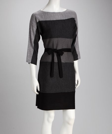 Gray Color Block Belted Dress