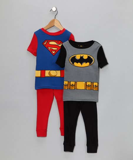 Black Batman & Superman Short-Sleeve Pajama Set - Boys