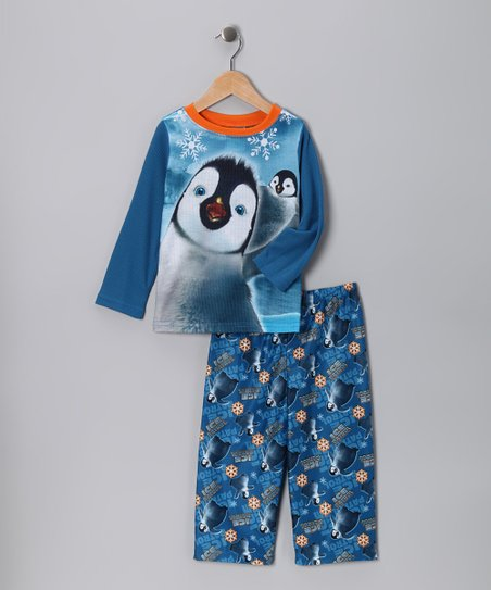 Blue Happy Feet Pajama Set - Toddler