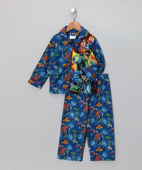 Blue Justice League Long-Sleeve Pajamas - Toddler