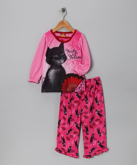 Pink Puss in Boots 'Fiesty Feline' Pajama Set - Girls