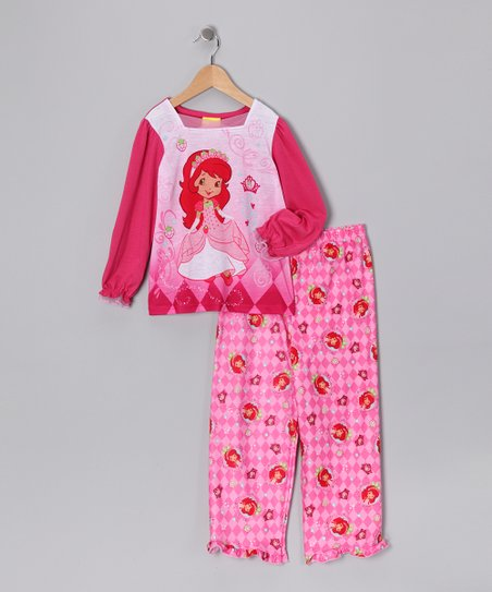 Pink Harlequin Strawberry Shortcake Pajama Set - Girls