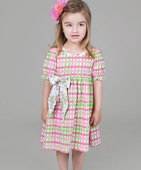 Pink & Green Plaid Dress - Infant, Toddler & Girls