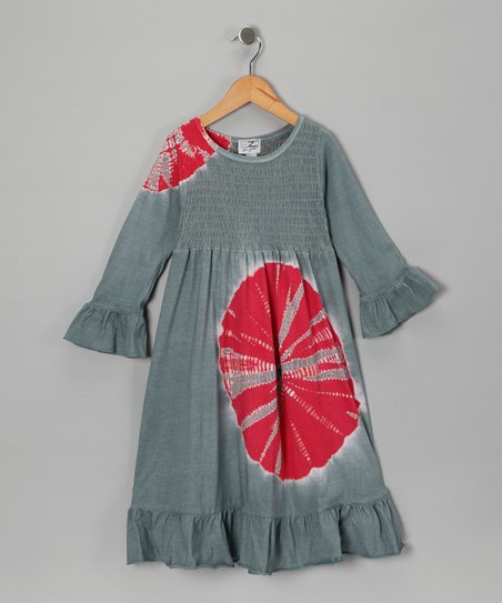 Gray & Red Splash Dress - Girls