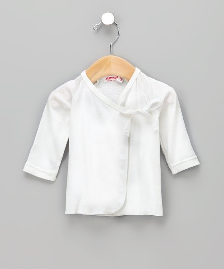 White Organic Wrap Top - Infant
