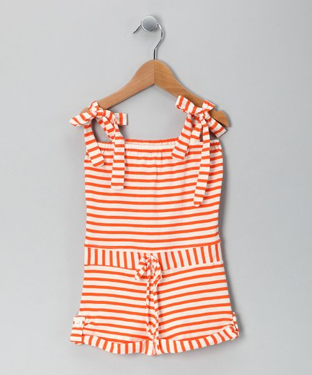 Orange Stripe Organic Romper - Girls