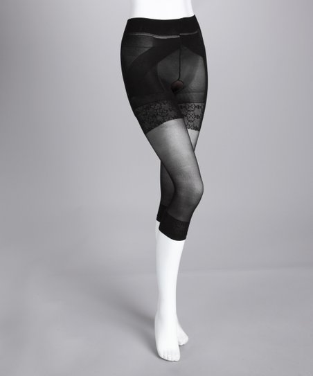 Black Sheer Shaper Capri Tights - Women