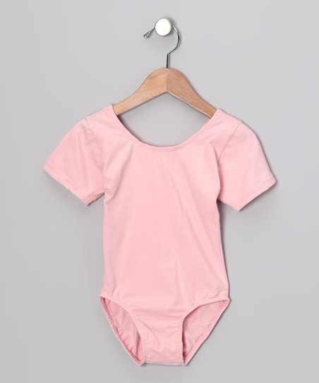 Pink Short-Sleeve Leotard - Toddler & Girls