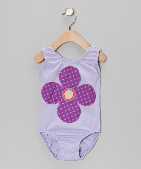 Lavender Funky Flower Leotard - Toddler & Girls