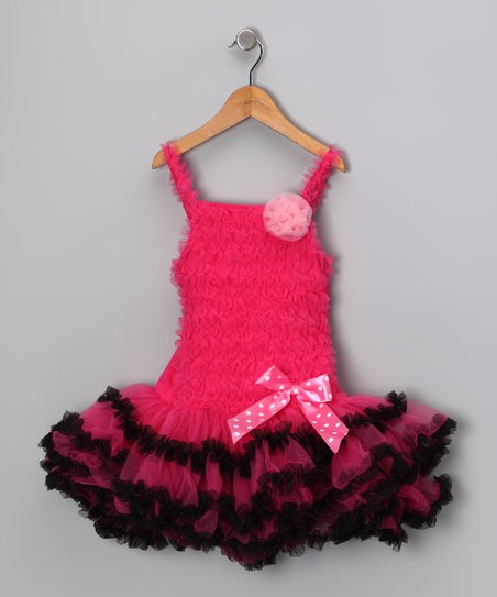 Hot Pink & Black Trim Ruffle Dress - Infant, Toddler & Girls