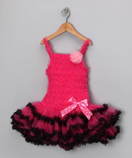 Hot Pink & Black Trim Ruffle Dress - Infant & Toddler